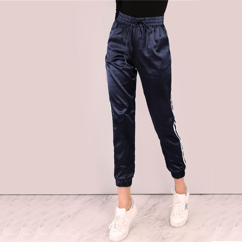 Satin Luxe Joggers Blue