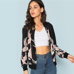 Flamingo Print Zip Up Jacket