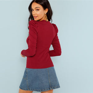 Burgundy Puff Top