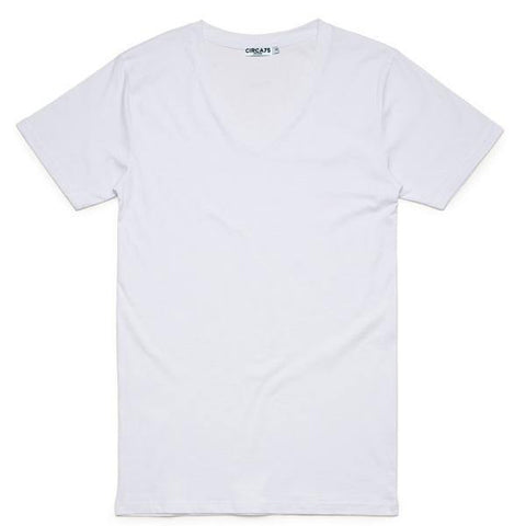 CIRCA75 V-NECK MUSCLE FIT T-SHIRT - WHITE - CIRCA75 MENSWEAR