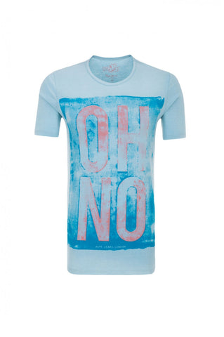 PEPE MEN'S WOODFORD OH NO PRINT T-SHIRT LIGHT BLUE - CIRCA75 MENSWEAR