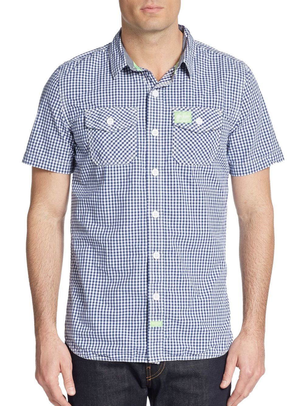 SUPERDRY MEN'S WASHBASKET GINGHAM BOCA SHORT SLEEVE SHIRT BLUE - CIRCA75 MENSWEAR