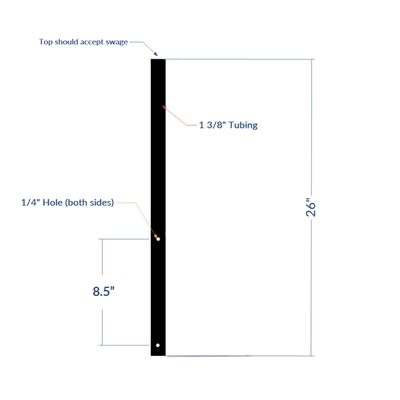 Dog Arm Base (no brackets) for Slim Mounting/Gates with Drilled Mounting Holes