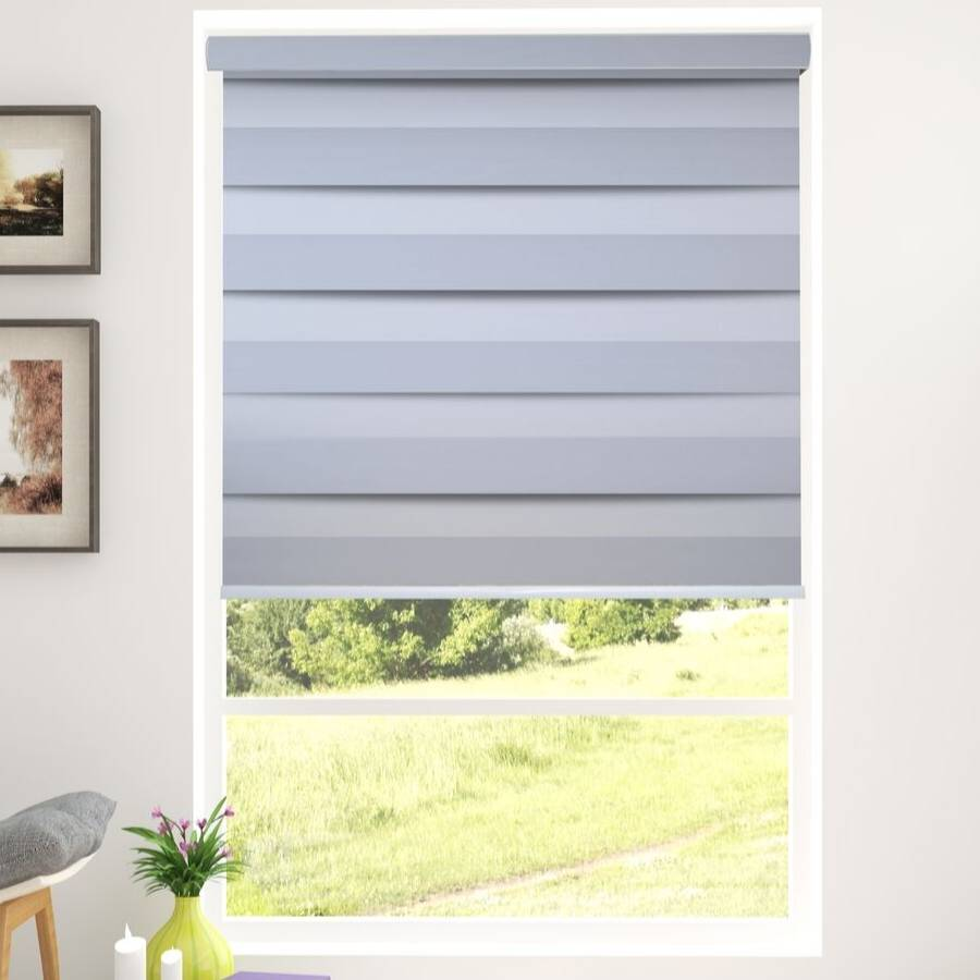 Z-BS1 Silver Basha Designer Blackout Zebra Shades Blinds