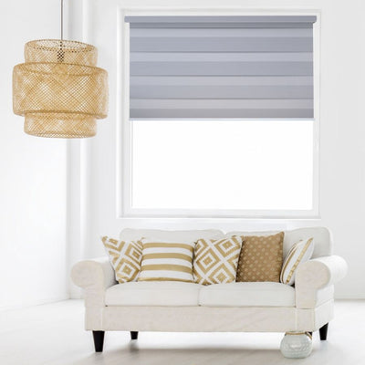 Z-BL03 Silver Bali Classic Blackout Zebra Shades Blinds