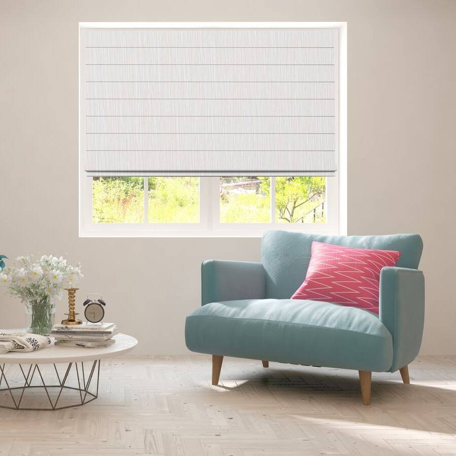 B-BB01 White Bixby Premium Blackout Roman Shades Blinds