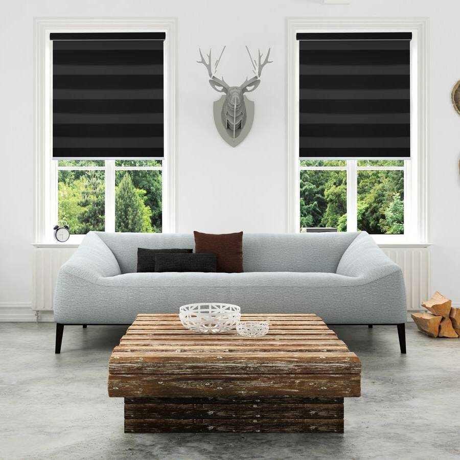 Z-TA03 Black Tarin Classic Light Filtering Zebra Shades Blind