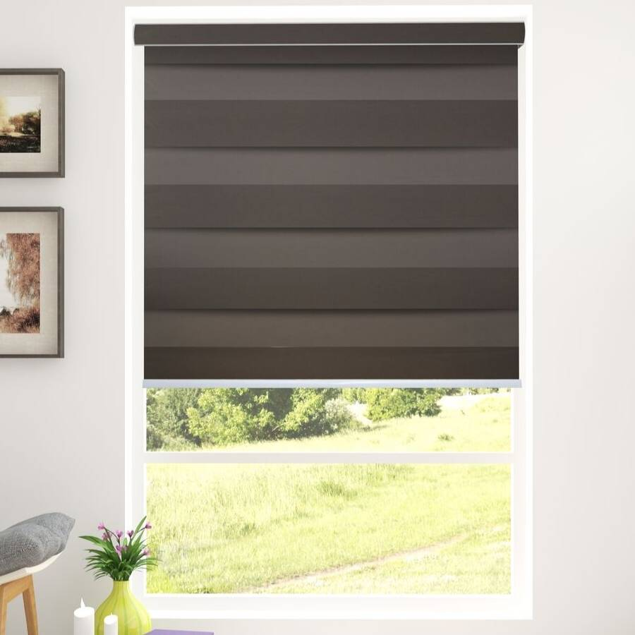 Z-BS5 Mocha Basha Designer Blackout Zebra Shades Blinds