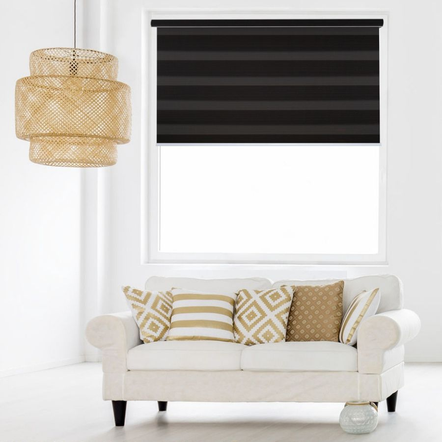 Z-BL04 Black-Brown Bali Classic Blackout Zebra Shades Blinds