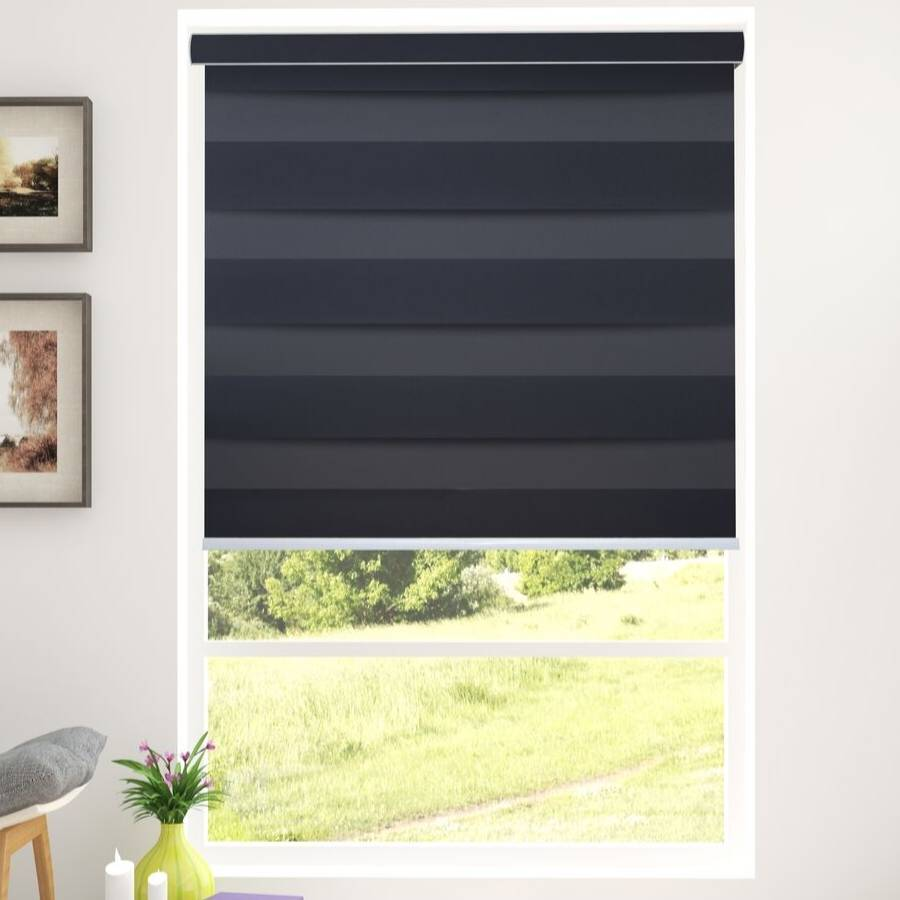 Z-BS6 Grey Basha Designer Blackout Zebra Shades Blinds