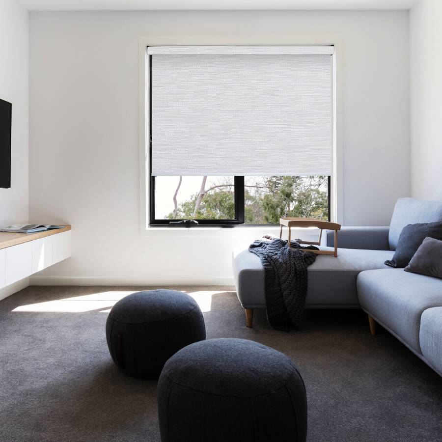 B-SM04 White-Grey Somas Designer Elements Blackout Roller Blinds