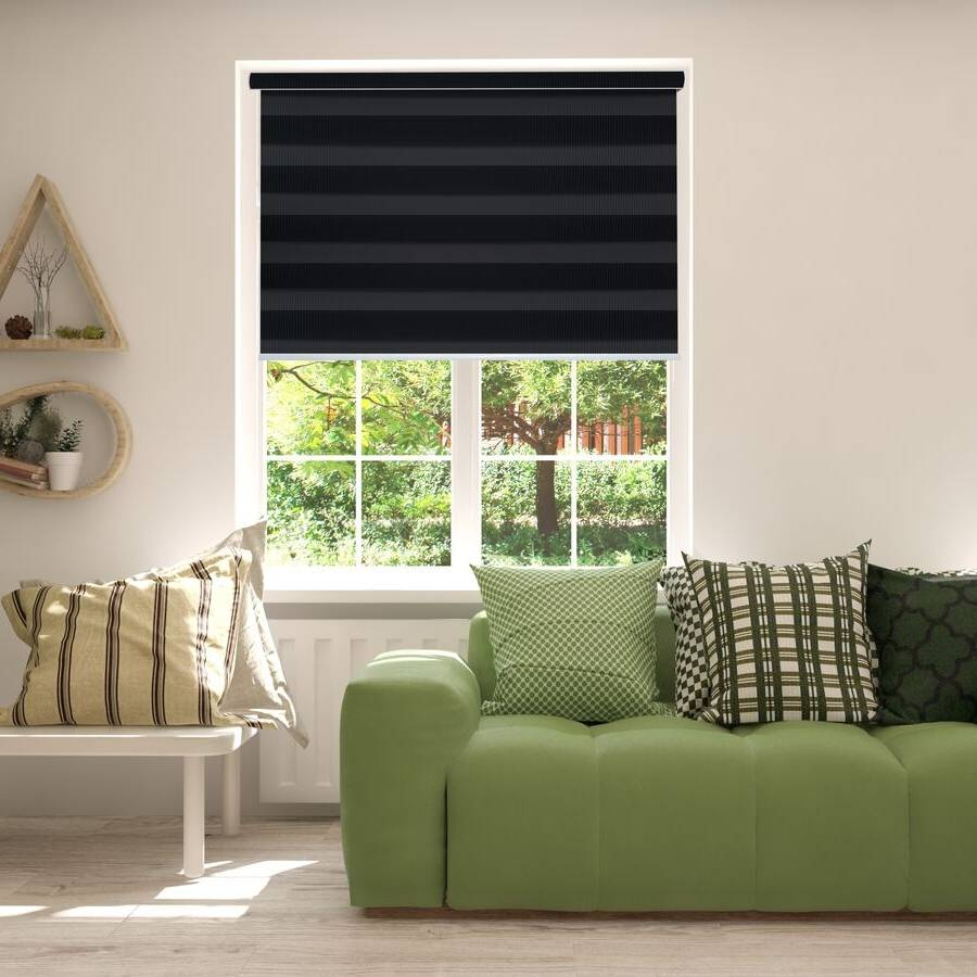 Z-BN10 Black Beno Blackout Zebra Shades Blinds