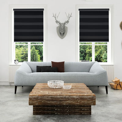 Z-BL07 Black Bali Classic Blackout Zebra Shades Blinds