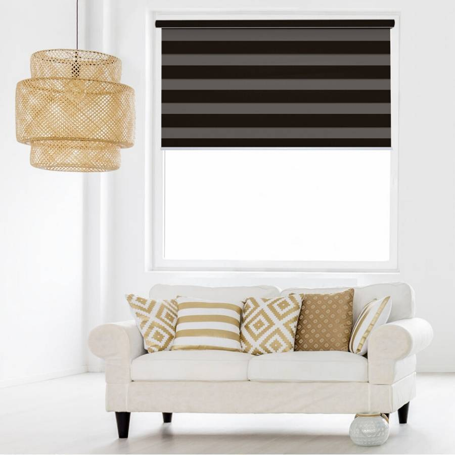 Z-BS07 Brown Basha Designer Blackout Zebra Shades Blinds