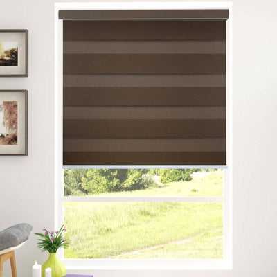 Z-BL06 Brown Bali Classic Blackout Zebra Shades Blinds