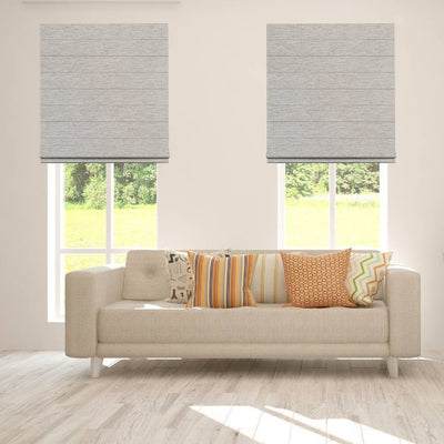 B-CR08 White-Blue Cara Fabric Roman Shades