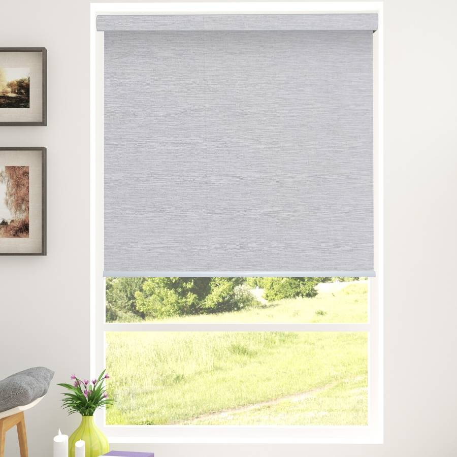 B-CR09 White-Brown Cara Blackout Fabric Roller Blinds