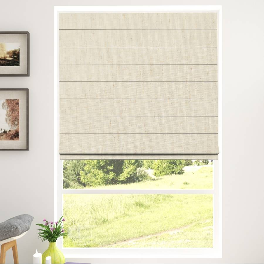B-WC02 Beige Waqo Light Filtering Roman Shades Blinds