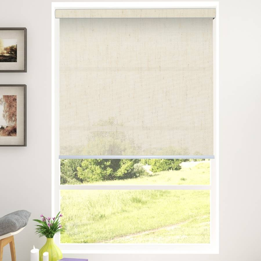 B-WC02 Beige Waqo Light Filtering Roller Blinds