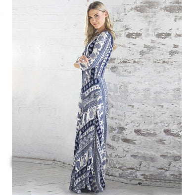 Porcelain Printed Long Sleeve Maxi Dress