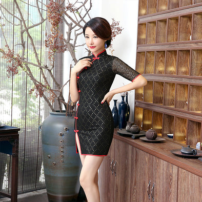 Black Lace Mandarin Collar Cheongsam Dress