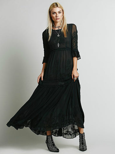 Bohemian Embroidery Long Maxi Dress