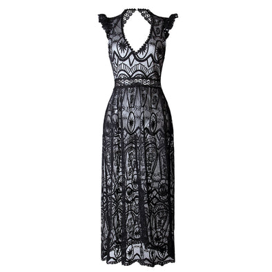 Vintage Elegant Sexy Long Lace dress
