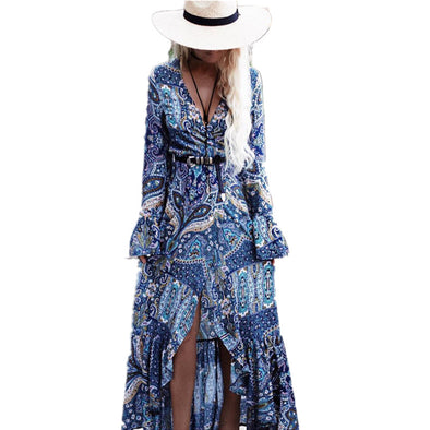 Bohemia Long Dress Women Floral Print Chiffon Beach Dress Summer V-neck Sexy Dress Ruffle Bohemian Dress Hippie Boho Beach Cloth