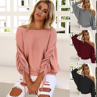 Fashion Batwing Off Shoulder Pullover