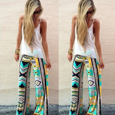 Floral Casual Wide Leg Long Harem Pants