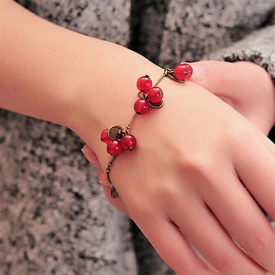 Vintage Sweet Red Cherry Bracelet