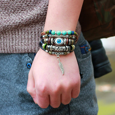 Owl Leather Charm Bracelet