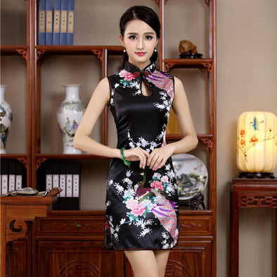 New Satin Floral Sleeveless Qipao Dress