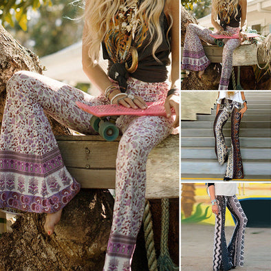 Boho Hippie High Waist Wide Leg Pants