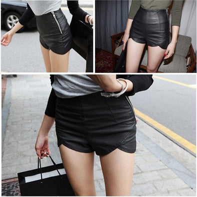 Sexy Solid Leather Black Short