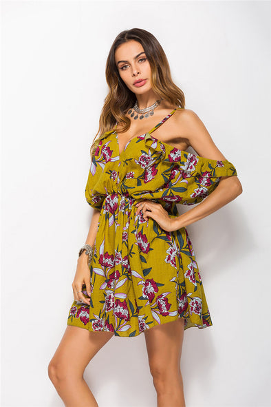 Floral Print Batwing Sleeve Seaside Dress