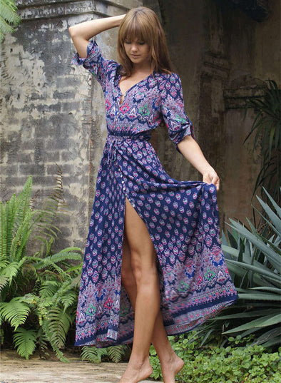 Pretty Bohemia Front Split Maxi Dress