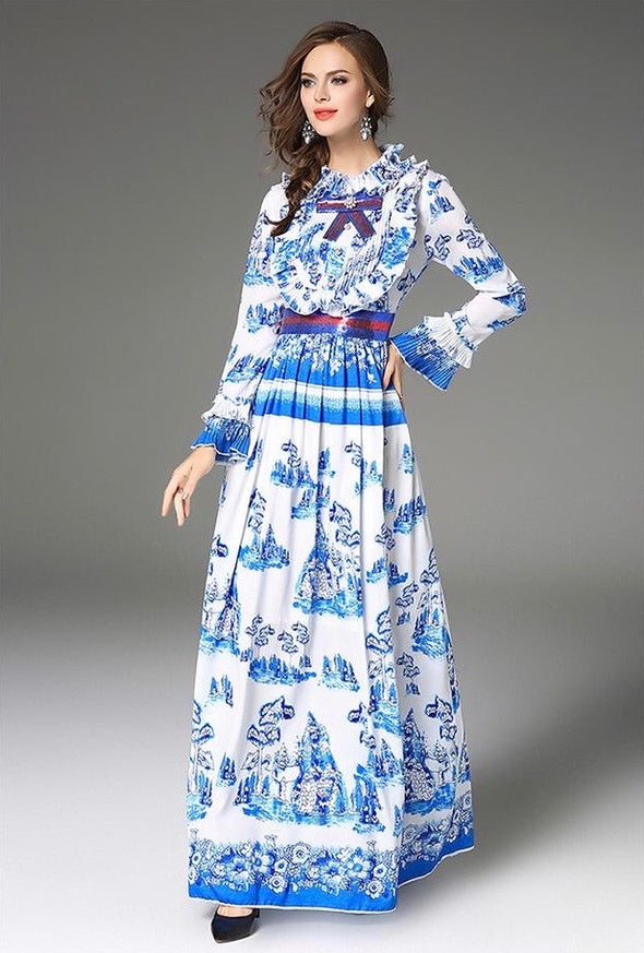Ethnic Print Waist Bow-front Maxi Dress