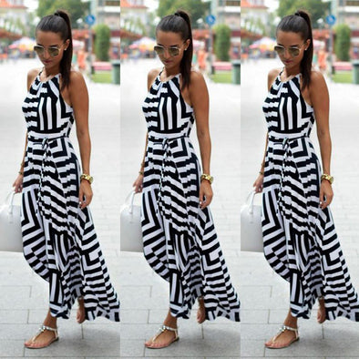 Vintage Striped Halter Maxi Dress