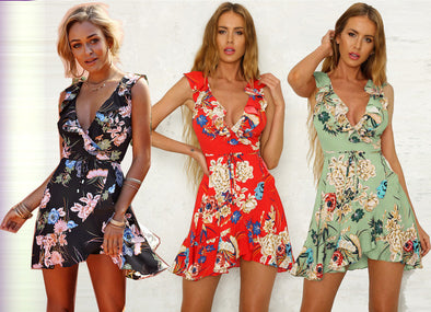 Floral Flouncing Bohemian Mini Dress
