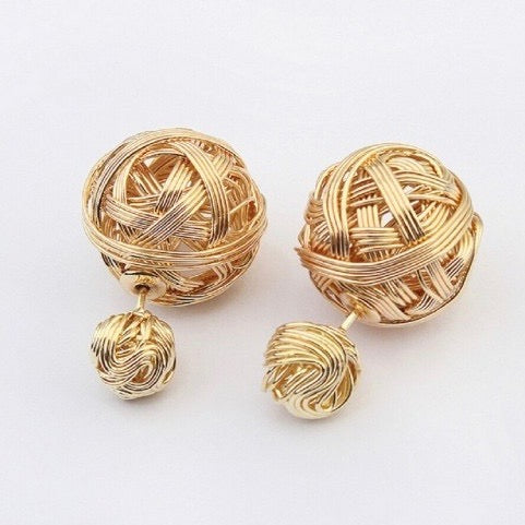 Gold Wire Double Stud Earrings