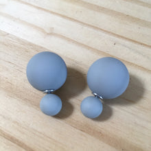 Load image into Gallery viewer, Matte Gray Blue Double Stud Earrings