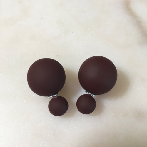 Matte burgundy Double Stud Earrings
