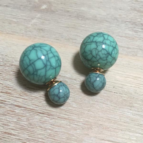 Green Marble Double Stud Earrings