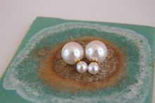 Load image into Gallery viewer, Pearl Double Stud Earrings