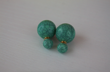 Load image into Gallery viewer, Green Marble Double Stud Earrings