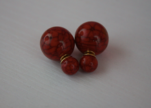 Load image into Gallery viewer, Red Marble Double Stud Earrings