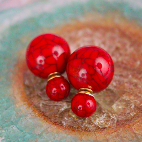 Red Marble Double Stud Earrings