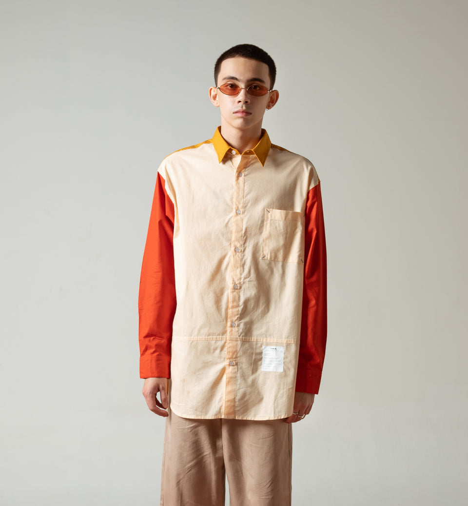 TERA COLORBLOCK MUSTARD OVERSIZED SHIRT