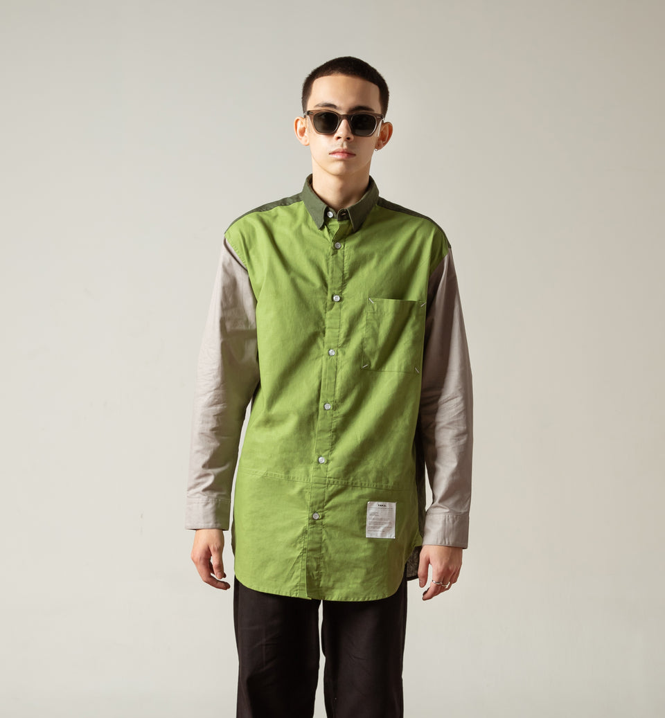 TERA COLORBLOCK GREEN OVERSIZED SHIRT